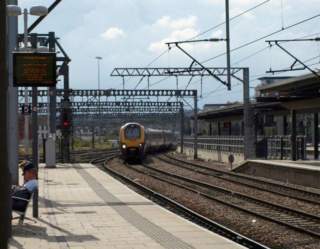 Train arriving, Leeds station