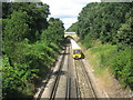 Dist:0.1km<br/>As seen from Barnehurst Road Bridge. The train is heading towards the bridge and Barnehurst Railway Station (before heading towards Dartford).  In the background is Erith Road bridge.