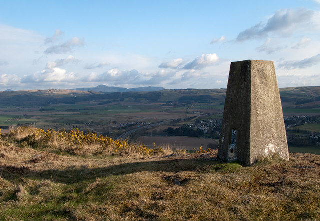 Trig point at summit of Moncreiffe Hill