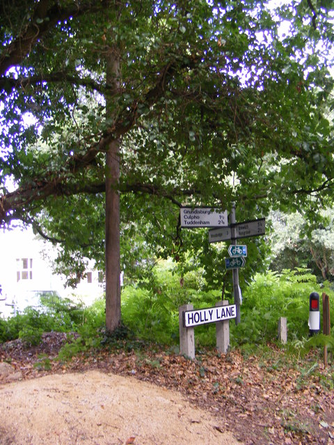 Holly Lane sign & Roadsign