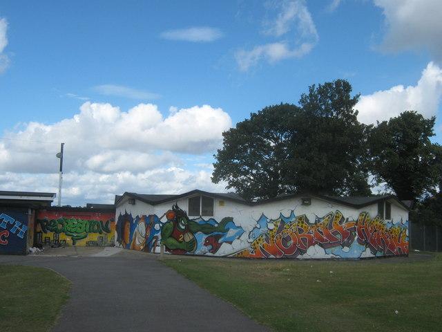 Graffiti artwork on Northumberland Heath Rugby Club pavilion