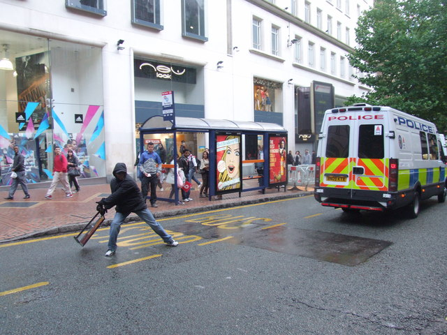 Rioting in Birmingham City Centre