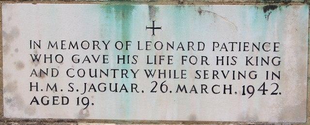 Leonard Patience & HMS Jaguar memorial