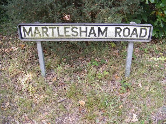Martlesham Road sign