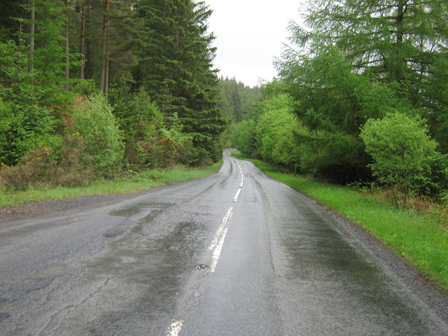 A75 at the junction with a forestry road looking northeast