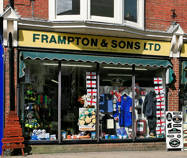 Framptons shop front, High Street, Ringwood