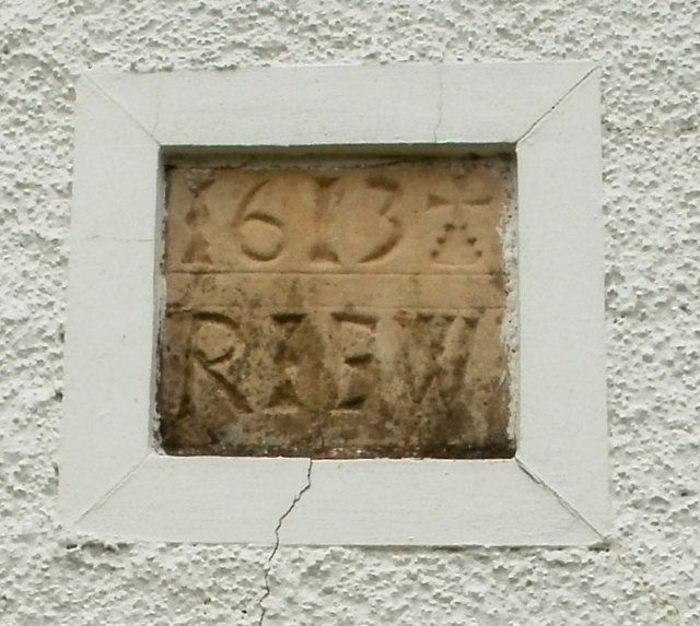 Date stone in the Grade II listed former Ty Coch farmhouse, Cwmbran