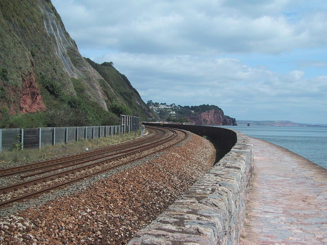 The railway runs along the coast east of Teignmouth