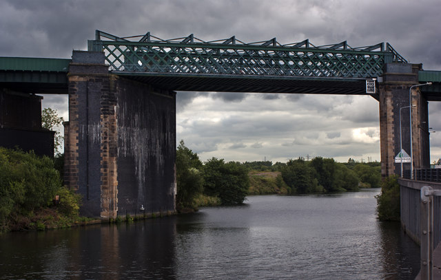 The high level rail bridge over the Manchester Ship Canal