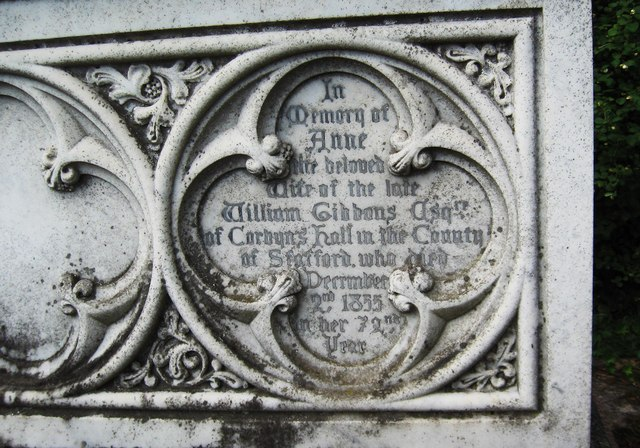 Inscription for Anne Gibbons, St. Mary's Churchyard, Stone