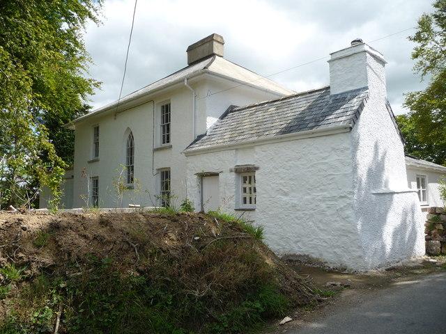 Whitewashed house under renovation in Treffgarne village