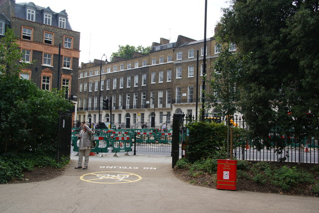 The southern corner of Russell Square