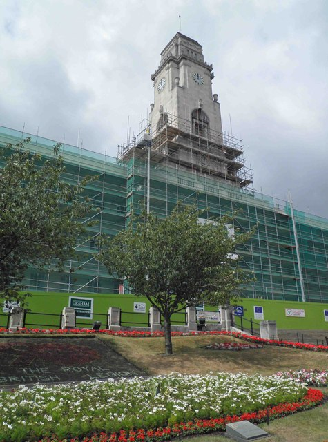 Barnsley Town Hall swathed in scaffolding