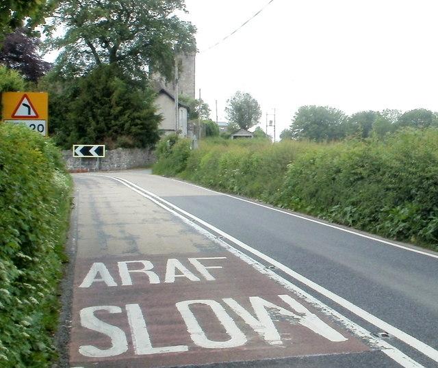 Sharp bend in the A483 near Llandovery