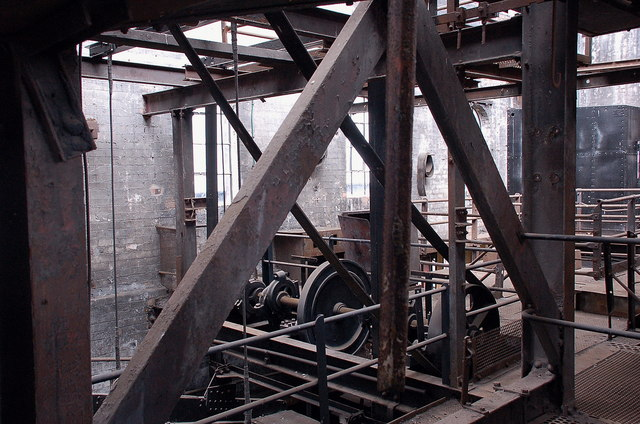 Machinery in the coal-washing plant, Lady Victoria Colliery