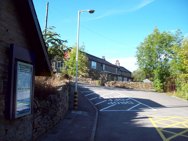 Stocksmoor Station Exit and Clothiers Arms