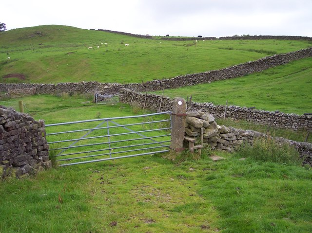 Gate and stile near Skelbow Barn