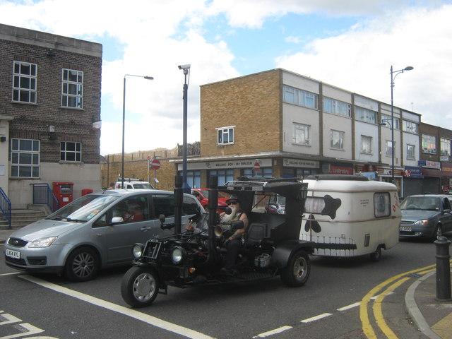 Biker and Caravan on Welling High Street