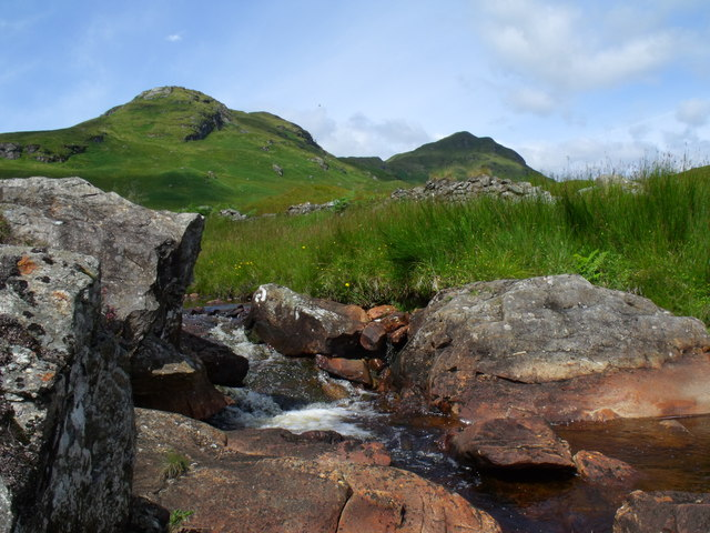 Bedrock and man-rock on the Strone Burn near Loch Katrine