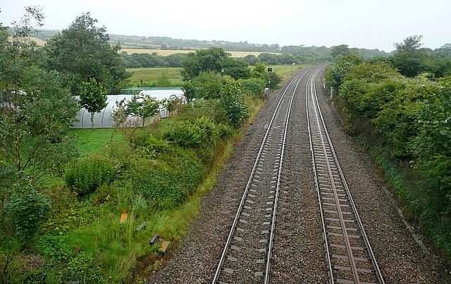 Looking north from Gitchell Lane railway bridge