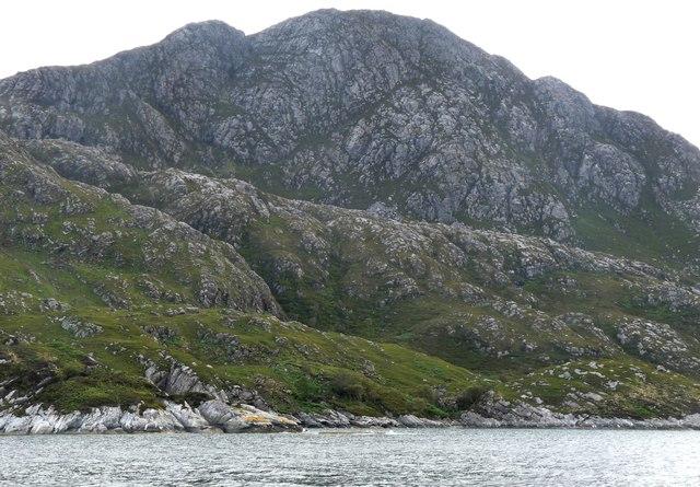 Buttresses of Sgurr an Eilein Ghiubhais reach the shore
