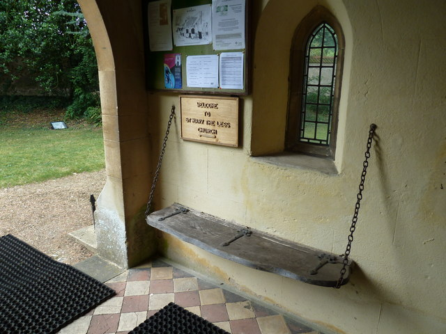 St. Mary the Less, Chilbolton: seat in the porch