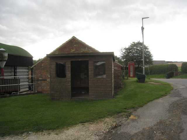 The bus shelter and phone box at Cuxwold