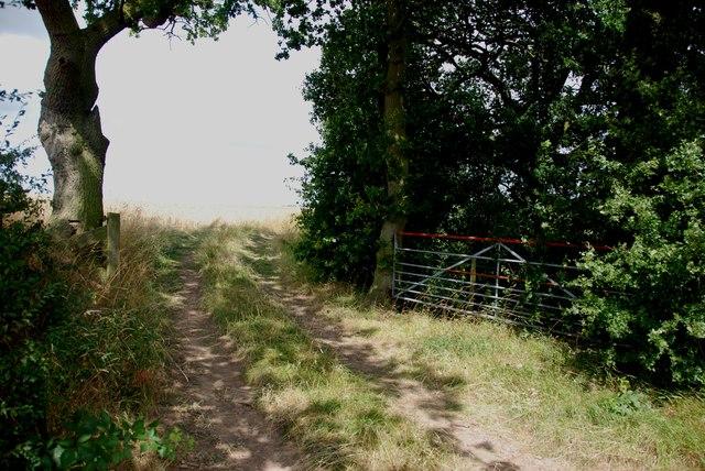 Farm Gate, Newlands Lane, looking towards Blithfield Reservoir