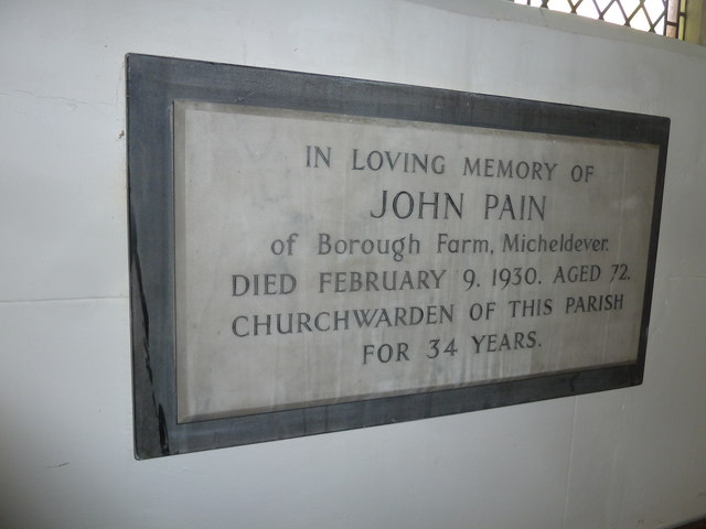 St Mary's, Micheldever: memorial (8)