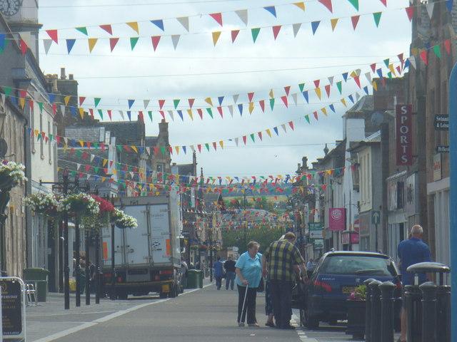 Flag-bedecked High Street