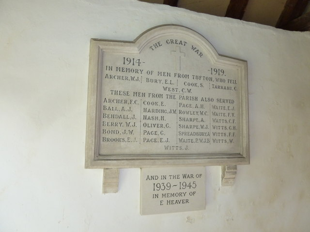 Saint Mary, Tufton: war memorial