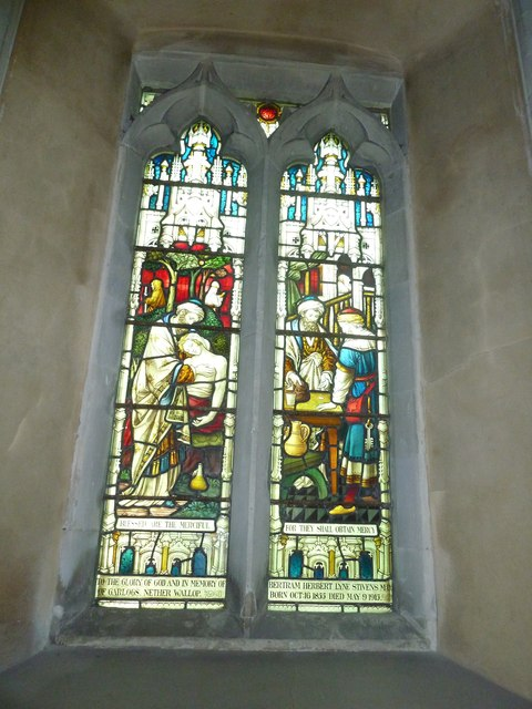 Nether Wallop- St Andrew's: stained glass window (4)