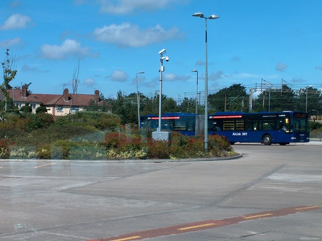 Liverpool South Parkway bus station with 501 Airport Link bus approaching
