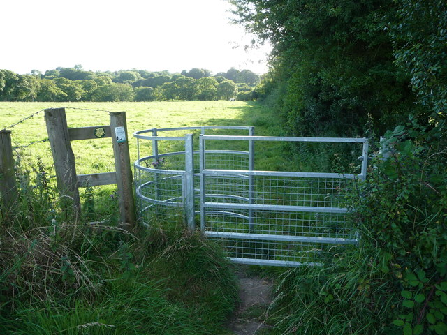 Kissing gate into cow pasture near Llangwm