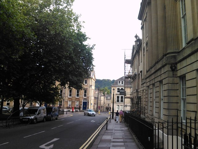 View of tree-covered hill from Queen Square
