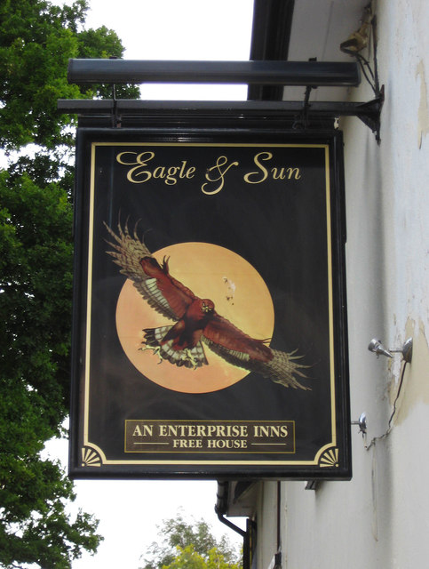 Eagle & Sun (2) - sign, Hanbury Road, Hanbury Wharf