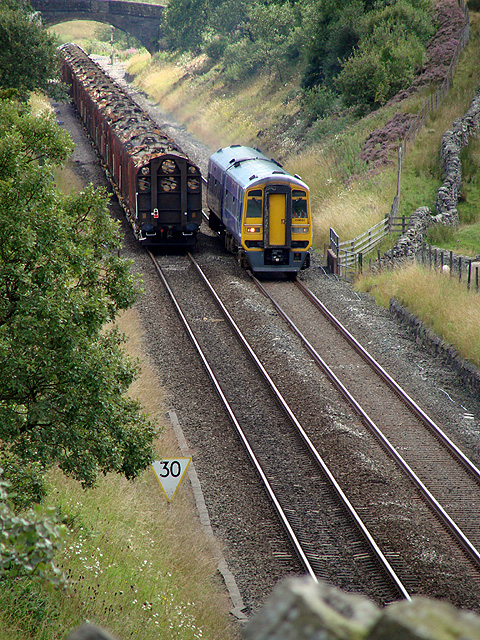 Trains passing at Blea Moor