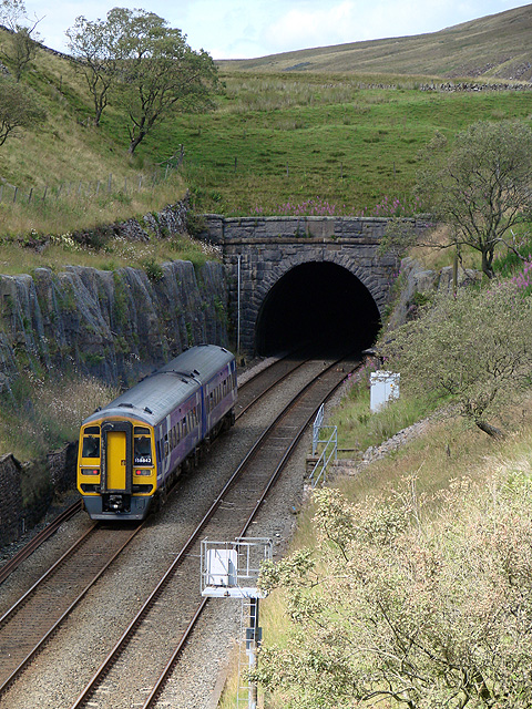 A Carlisle bound train just about to enter Blea Moor Tunnel