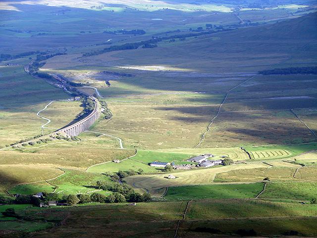 Gunnerfleet Farm viewed from the summit of Whernside