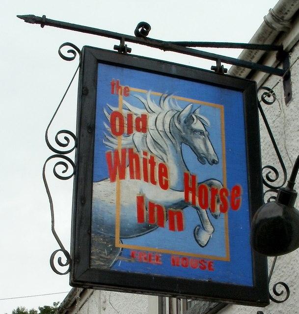 Pub sign, The Old White Horse Inn, Pontneddfechan