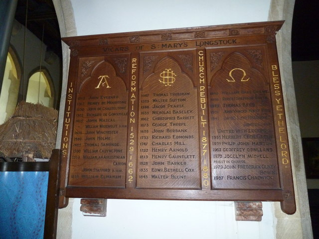 St Mary, Longstock: incumbency board