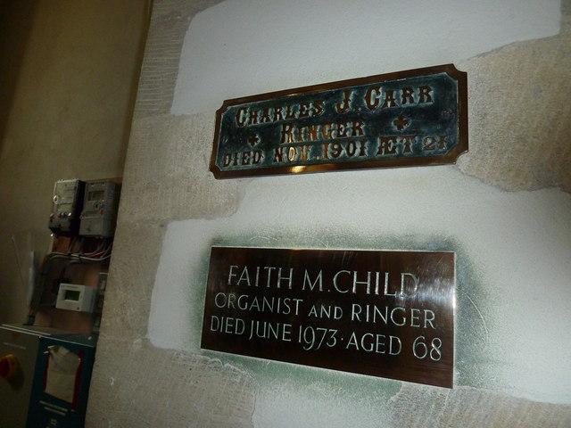 St Mary, Longstock: ringer plaques