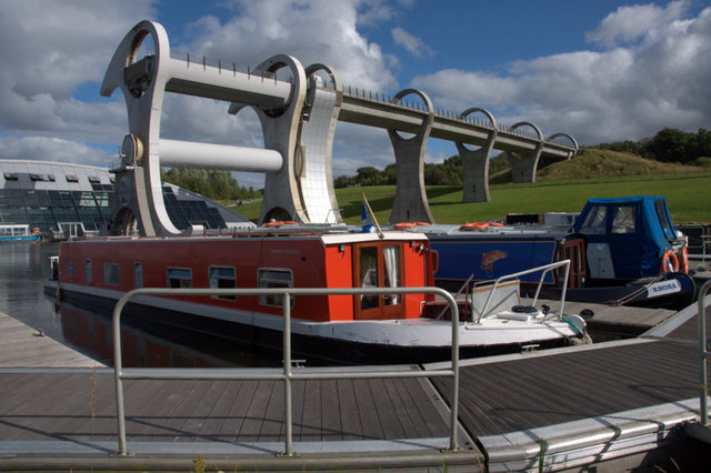 Boats in the basin at the Falkirk Wheel