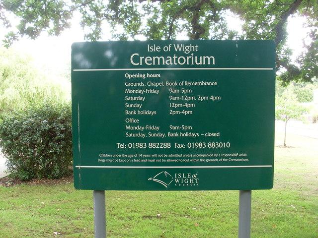 Noticeboard at the Isle of Wight Crematorium