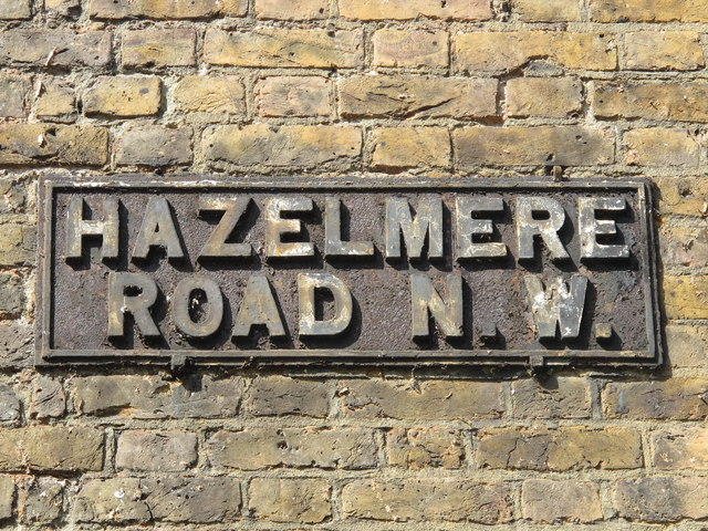 Old sign for Hazelmere Road, NW6