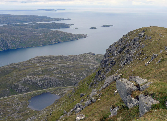 Todun summit ridge and seawards over the mouth of Loch Seaforth