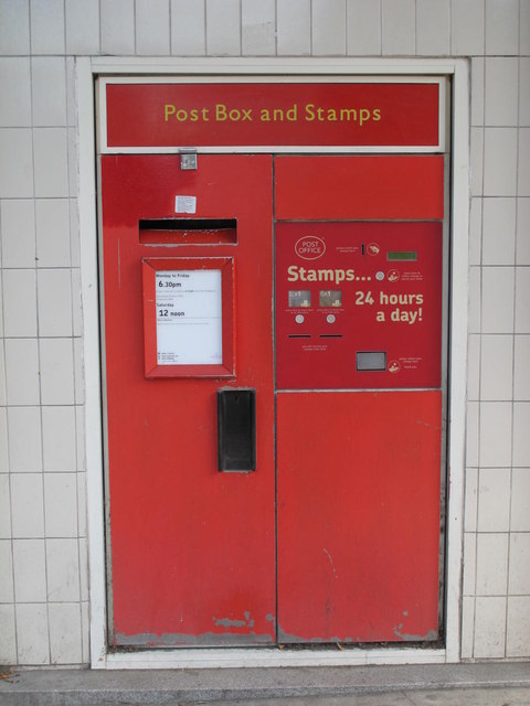 Post box, Post Office, Brondesbury Villas / Kilburn High Road, NW6