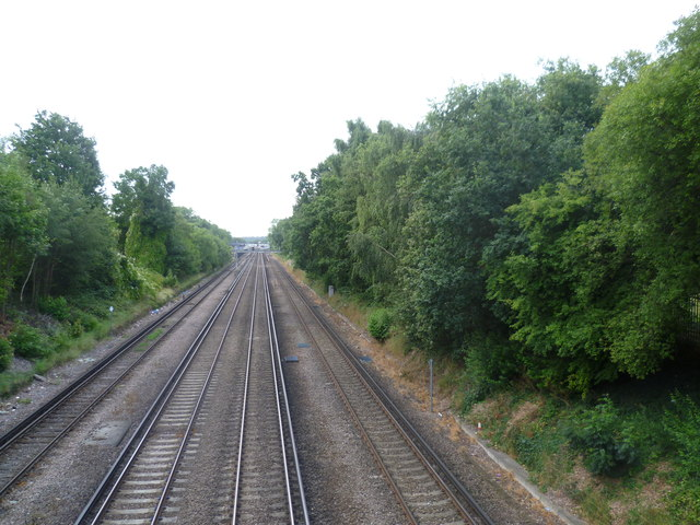 View down the line from Crofton Lane