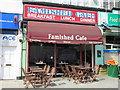 TQ2583 : The Famished  Cafe, Kilburn High Road / Coventry Close, NW6 by Mike Quinn