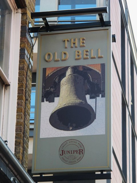 Sign for The Old Bell, Kilburn High Road / Springfield Lane, NW6